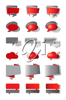 Speech bubbles in shades of red and grey. Three styles - flat, gradient and gradient with shadow. EPS10 vector format.