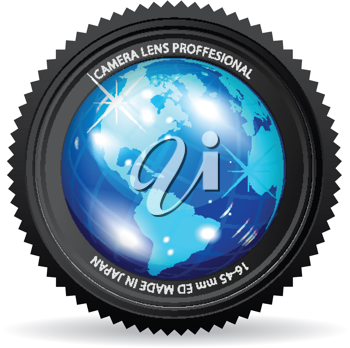 Royalty Free Clipart Image of a Camera Lens With the World
