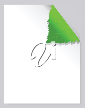 Royalty Free Clipart Image of a Page With a Leaf Corner