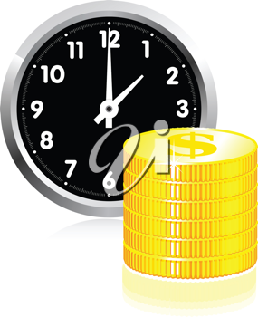 Royalty Free Clipart Image of a Watch With Coins