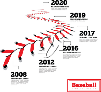 Timeline infographics for baseball. Milestones of development. Lace from a baseball on a white background. Vector illustration