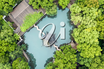 Aerial of Ancient traditional garden, aerial in Suzhou, China.