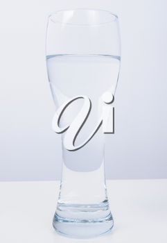 Transparent glass of clear still drinking water
