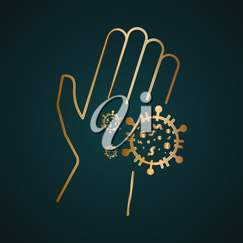 Coronavirus bacterial cells on human palm hand vector icon. Gold metal with dark background