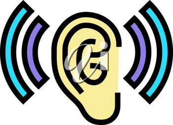 listening and hearing noise color icon vector. listening and hearing noise sign. isolated symbol illustration