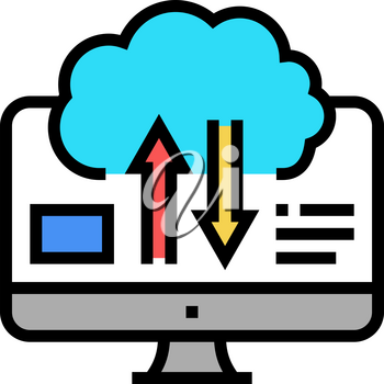 download and upload from cloud digital processing color icon vector. download and upload from cloud digital processing sign. isolated symbol illustration