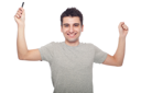 Royalty Free Photo of a Man Holding a Cellphone