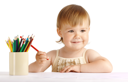Royalty Free Photo of a Child With Crayons