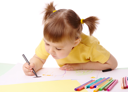 Royalty Free Photo of a Little Girl Colouring With a Marker