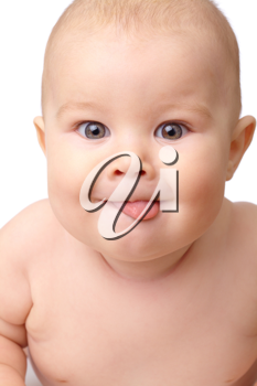 Royalty Free Photo of a Baby With Its Tongue Out