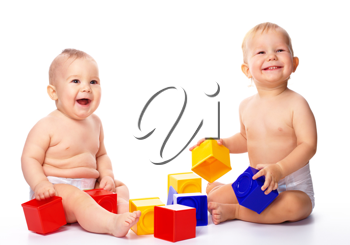 Royalty Free Photo of Babies With Blocks