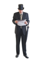 Middle aged  businessman in a retro business suit with newspaper and umbrella isolated on white.