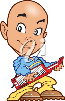 Royalty Free Clipart Image of a Keyboard Player