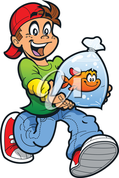 Royalty Free Clipart Image of a Boy With a Goldfish in a Bag