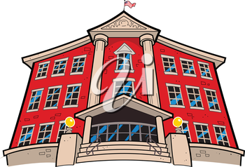 Royalty Free Clipart Image of a Big Building With an American Flag