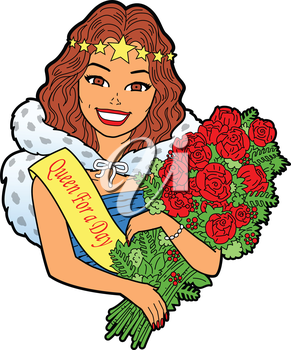 Royalty Free Clipart Image of a Queen for a Day Holding Flowers