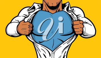 Royalty Free Clipart Image of a Superhero Opening His Shirt