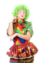 Royalty Free Photo of a Female Clown Looking Pensive