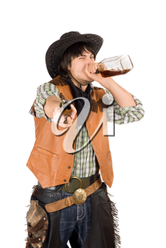 Royalty Free Photo of a Cowboy Drinking