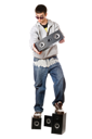 Royalty Free Photo of a Man With Four Speakers