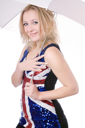 Royalty Free Photo of a Woman in a Union Jack Dress