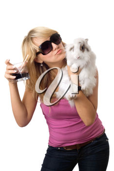 Royalty Free Photo of a Woman With a Drink and a Rabbit