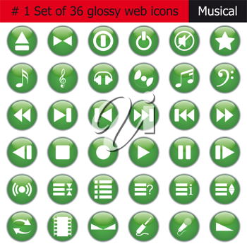 Collection of different icons for using in web design. Set #1. Music.
