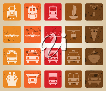 Transportation set of different vector web icons. Retro style.