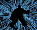 Hockey player silhouette with line background. Vector illustration.
