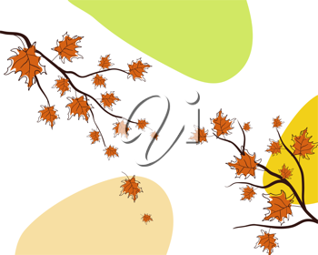 Autumn greeting doodle card in retro style. Vector illustration.
