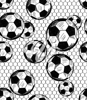 Football (soccer) theme seamless pattern in sketch style. Vector illustration.
