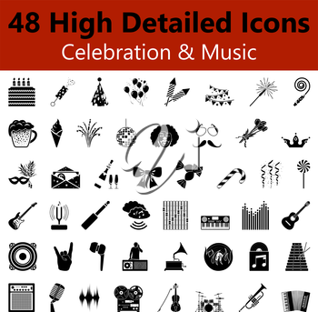 Set of High Detailed Celebration and Music Smooth Icons in Black Colors. Suitable For All Kind of Design (Web Page, Interface, Advertising, Polygraph and Other). Vector Illustration.