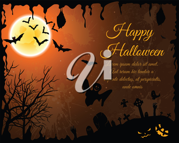 Happy Halloween Greeting Card. Elegant Design With Bats, Spooky, Grave, Cemetery, Tree and Moon  Over Orange Grunge Starry Sky Background With Ink Blots. Vector illustration.