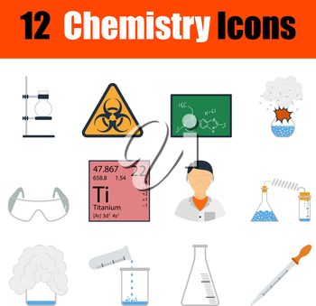Flat design chemistry icon set in ui colors. Vector illustration.
