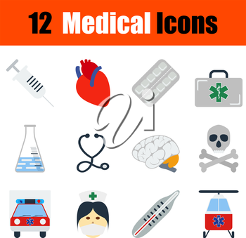 Flat design medical icon set in ui colors. Vector illustration.