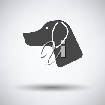 Hunting dog had  icon on gray background with round shadow. Vector illustration.