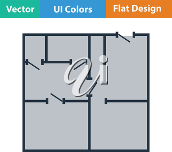 Flat design icon of apartment plan in ui colors. Vector illustration.