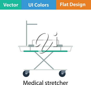 Medical stretcher icon. Flat color design. Vector illustration.