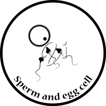 Sperm and egg cell icon. Thin circle design. Vector illustration.