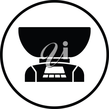 Kitchen electric scales icon. Thin circle design. Vector illustration.