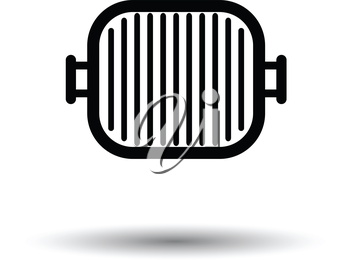Grill pan icon. White background with shadow design. Vector illustration.