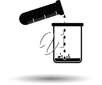 Icon of chemistry beaker pour liquid in flask. White background with shadow design. Vector illustration.