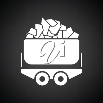 Mine coal trolley icon. Black background with white. Vector illustration.