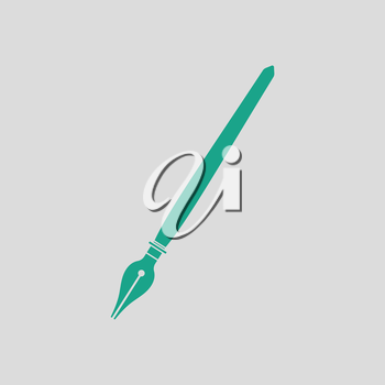 Fountain pen icon. Gray background with green. Vector illustration.