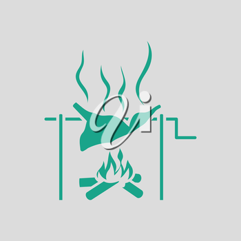 Roasting meat on fire icon. Gray background with green. Vector illustration.