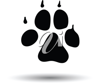Dog trail icon. Black background with white. Vector illustration.