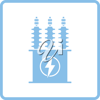 Electric transformer icon. Blue frame design. Vector illustration.