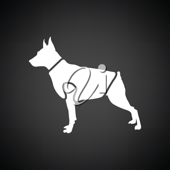 Dog cloth icon. Black background with white. Vector illustration.