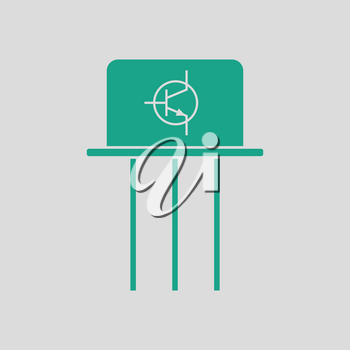 Transistor icon. Gray background with green. Vector illustration.