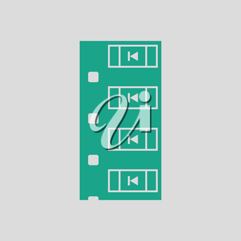 Diode smd component tape icon. Gray background with green. Vector illustration.